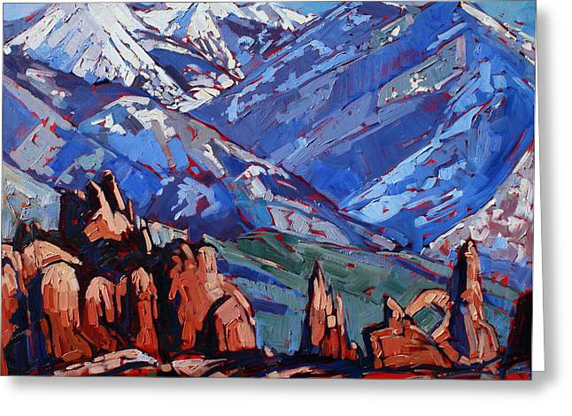 Red Rock Canyon Greeting Cards - Arches at La Sal Greeting Card by Erin Hanson