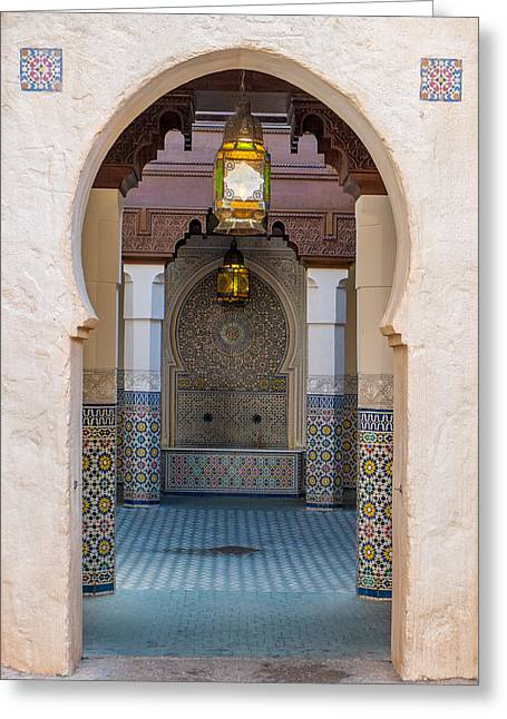 Moroccan Courtyard Greeting Cards - Arches Greeting Card by Beth Anthony