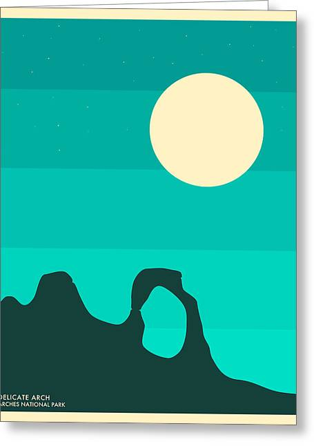 Minimalist Landscape Greeting Cards - Arches National Park Greeting Card by Jazzberry Blue