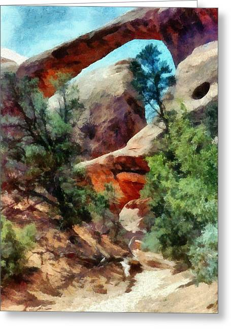 Amazing Sunset Digital Greeting Cards - Arches National Park Trail Greeting Card by Michelle Calkins
