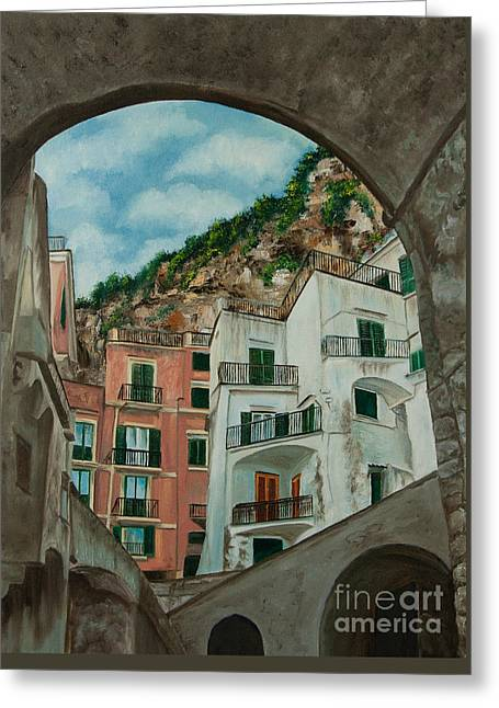 Village In Europe Greeting Cards - Arches of Italy Greeting Card by Charlotte Blanchard