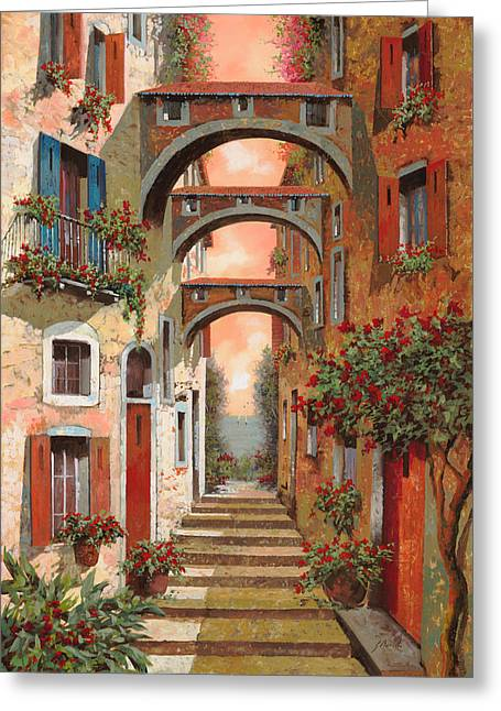 Arch Greeting Cards - Archetti In Rosso Greeting Card by Guido Borelli