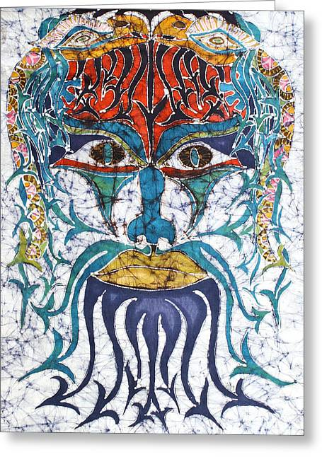 Portraits Tapestries - Textiles Greeting Cards - Archetypal Mask Greeting Card by Carol  Law Conklin