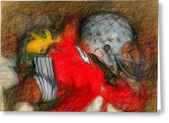 Heisman Greeting Cards - Archie Griffin A Sketch Greeting Card by John Farr