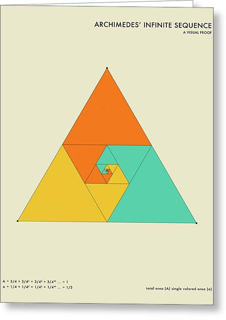 Geometric Art Greeting Cards - Archimedes Infinite Sequence Greeting Card by Jazzberry Blue