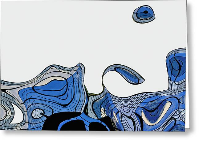 Blue Abstracts Greeting Cards - ArchiTec - 04a Greeting Card by Variance Collections