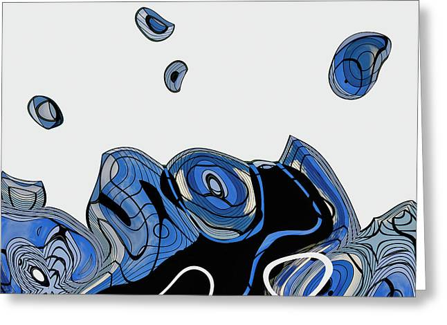 Blue Abstracts Greeting Cards - ArchiTec - 06c Greeting Card by Variance Collections