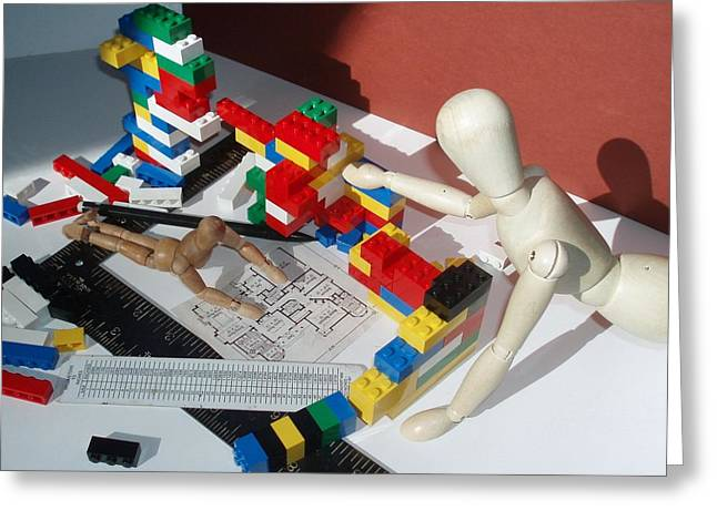 Lego Sculptures Greeting Cards - Architect in Training Greeting Card by Suzanne Lowry