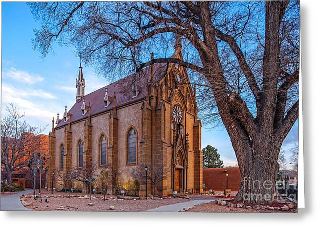 Religious Art Photographs Greeting Cards - Architectural photograph of the Loretto Chapel in Santa Fe New Mexico Greeting Card by Silvio Ligutti