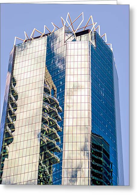 Glass Reflecting Greeting Cards - Architectural Reflections Greeting Card by Paul Fucich