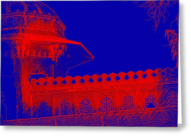 Hand Made Digital Art Greeting Cards - Architecture Detail Blue and Red City Palace Udaipur Rajasthan India 1a Greeting Card by Sue Jacobi