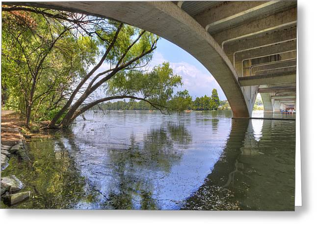 Architecture Of Lamar Bridge Austin Texas 2 Greeting Card by Rob Greebon
