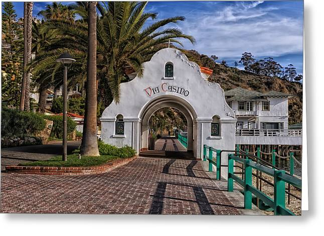Casino Pier Greeting Cards - Archway Entrance To Via Casino - Catalina Island California Greeting Card by Mountain Dreams