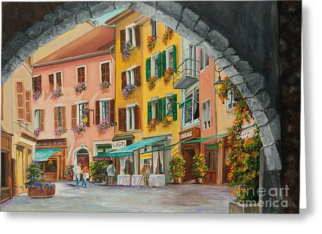 Village In France Greeting Cards - Archway To Annecys Side Streets Greeting Card by Charlotte Blanchard