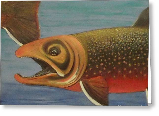 Salmon Paintings Greeting Cards - Arctic char Greeting Card by Maria Elena Gonzalez