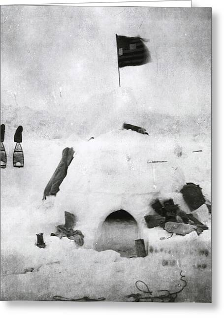 E Black Greeting Cards - Arctic Explorer Robert Pearys Igloo Greeting Card by Robert E Peary
