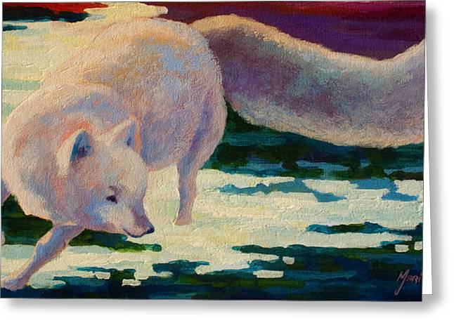 Puppies Paintings Greeting Cards - Arctic Fox Greeting Card by Marion Rose