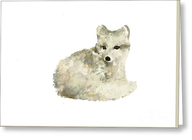 Arctic Fox Watercolor Art Print Painting Greeting Card by Joanna Szmerdt