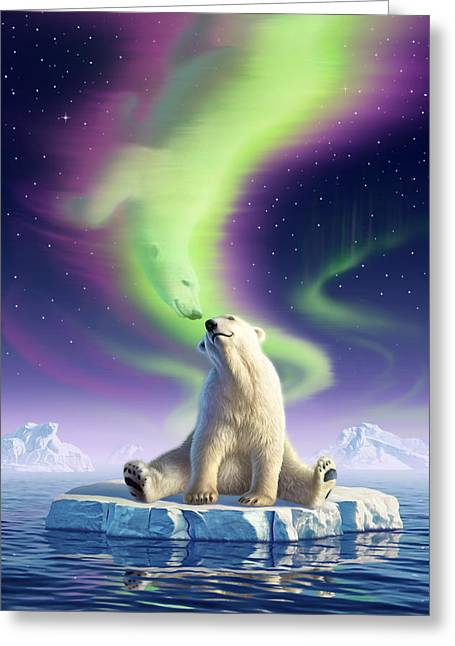 Polar Bears Greeting Cards - Arctic Kiss Greeting Card by Jerry LoFaro
