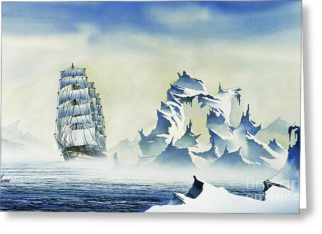 Artist James Williamson Maritime Print Greeting Cards - Arctic Seas Greeting Card by James Williamson