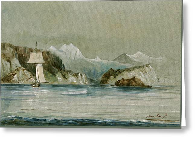 Arctic Seascape Greeting Card by Juan  Bosco