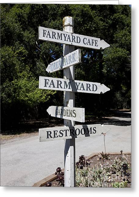 Directional Signage. Greeting Cards - Ardenwood Historic Farm Direction Sign Greeting Card by Jason O Watson