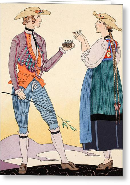 Are They Nice Greeting Card by Georges Barbier