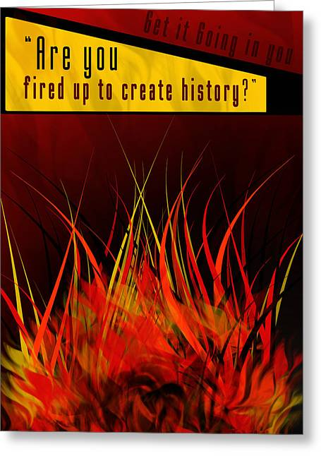 Contemporary Art Pyrography Greeting Cards - Are you fired up Greeting Card by Mohit Shah