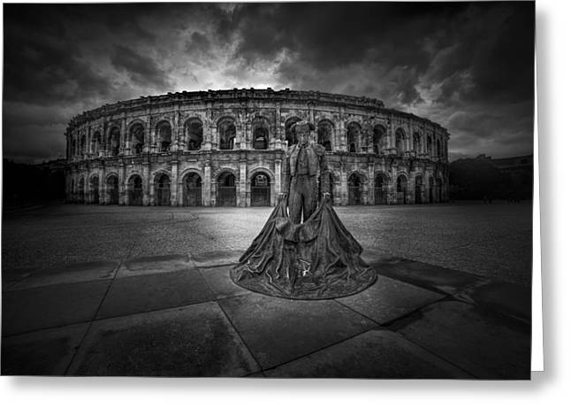 Theater Town Greeting Cards - Arena of Nimes v.2 Greeting Card by Erik Brede