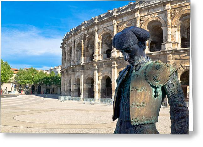 Fighters Greeting Cards - Arenes de Nimes Bullfighter Greeting Card by Scott Carruthers