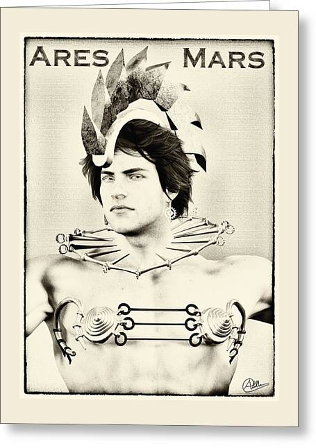 Strategy Mixed Media Greeting Cards - Ares duotone portrait By Quim Abella Greeting Card by Joaquin Abella