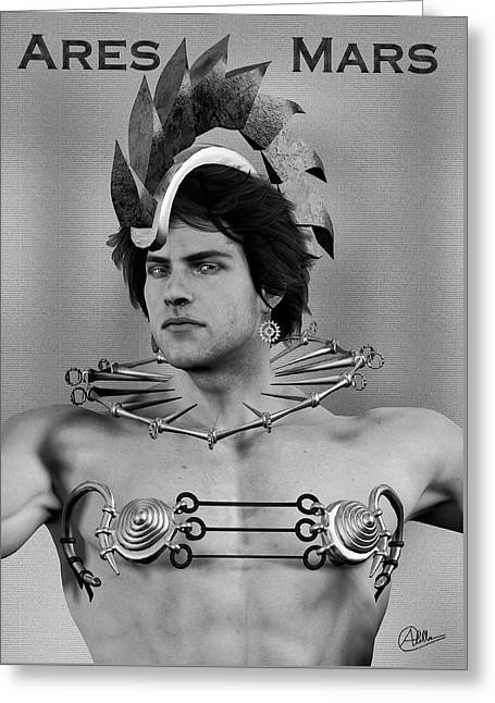 Strategy Mixed Media Greeting Cards - Ares monochrome portrait By Quim Abella Greeting Card by Joaquin Abella