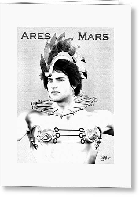 Ares Portrait Drawn  Greeting Card by Quim Abella