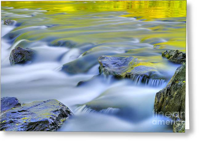 Blue Green Water Photographs Greeting Cards - Argen River Greeting Card by Silke Magino