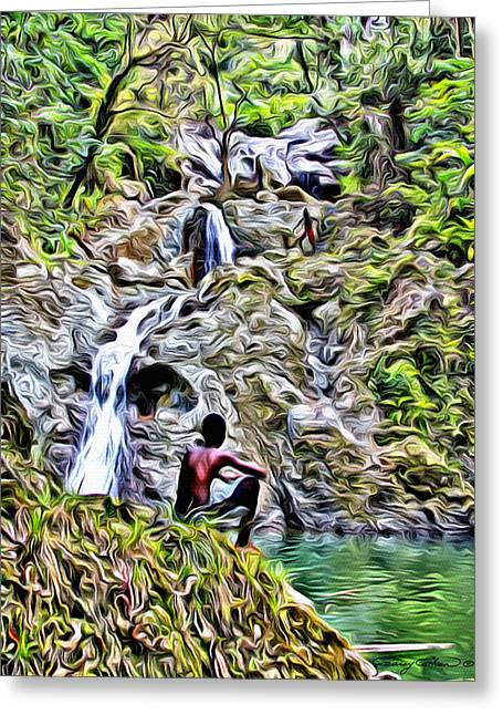 Argyle Digital Greeting Cards - Argyle Falls Greeting Card by Anthony C Chen