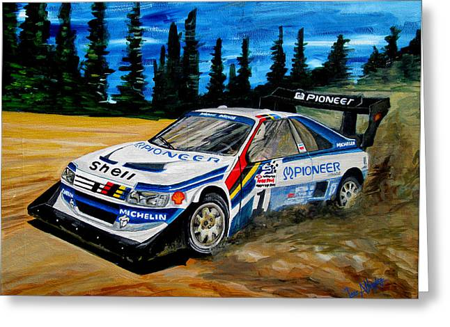 Rally Greeting Cards - Ari Vatanen Peugeot 405 T16 Greeting Card by Jose Mendez