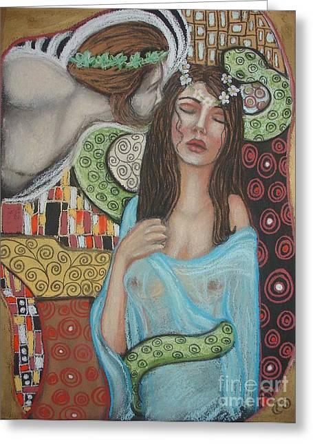 Greek Pastels Greeting Cards - Ariadne and Dionysus Greeting Card by Tammy Mae Moon