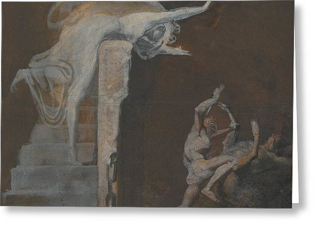 Minotaur Greeting Cards - Ariadne Watching the Struggle of Theseus with the Minotaur Greeting Card by Henry Fuseli
