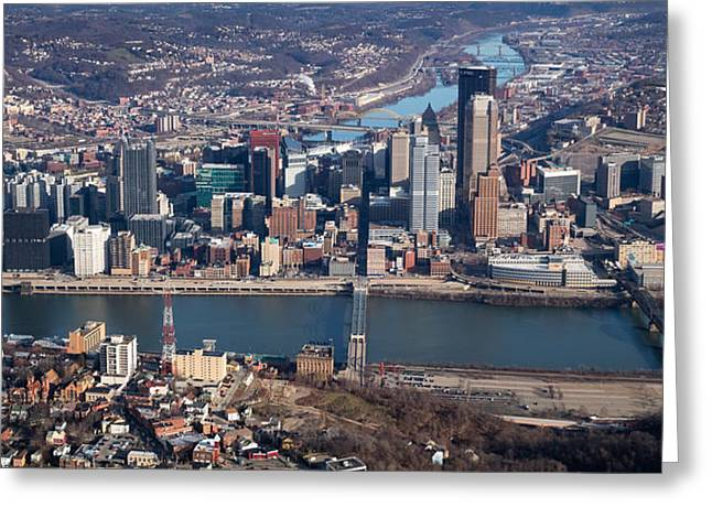 Arial Pittsburgh 100 Greeting Card by Emmanuel Panagiotakis