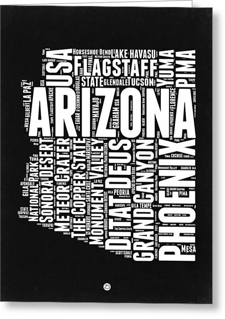 Grand Canyon State Greeting Cards - Arizona Black and White Word Cloud Map Greeting Card by Naxart Studio