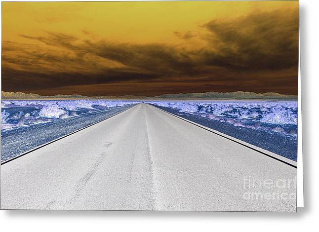 Usa Digital Art Greeting Cards - Arizona Desert Highway Greeting Card by Stephen Allen