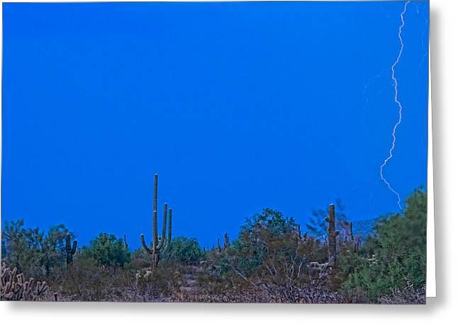 Arizona Lightning Greeting Cards - Arizona Desert Landscape  Greeting Card by James BO  Insogna