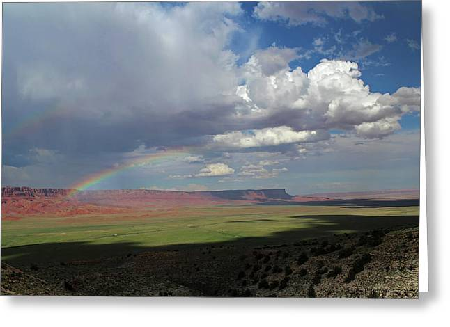 Arizona Double Rainbow Greeting Card by Jerry LoFaro