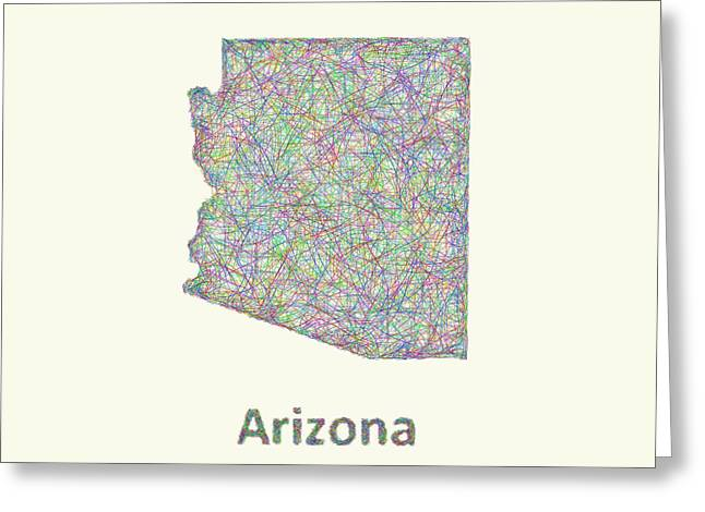 Arizona Greeting Cards - Arizona line art map Greeting Card by David Zydd