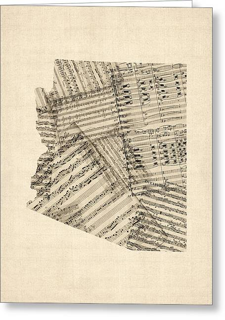 Arizona Map, Old Sheet Music Map Greeting Card by Michael Tompsett