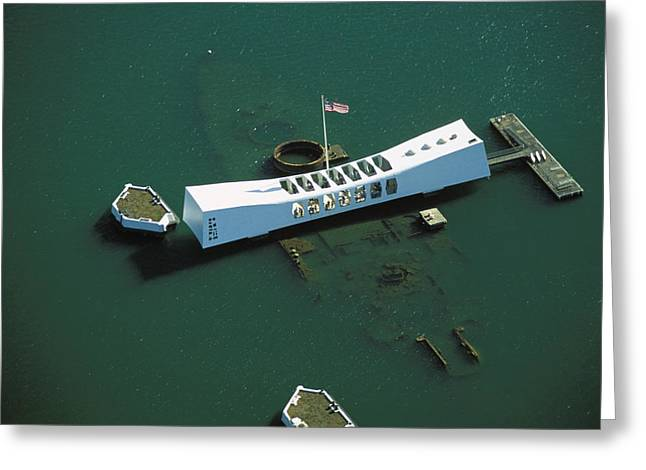 From Above Greeting Cards - Arizona Memorial Aerial Greeting Card by Dana Edmunds - Printscapes