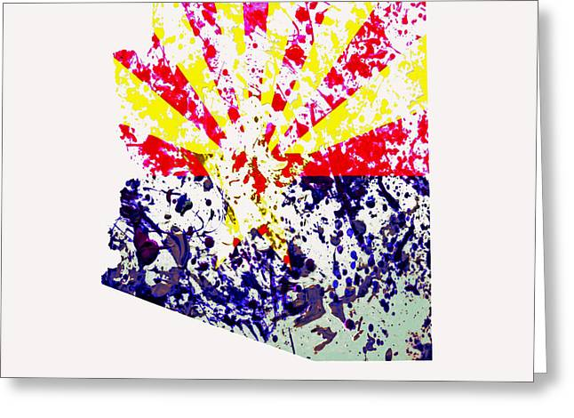 The Grand Canyon Mixed Media Greeting Cards - Arizona Paint Splatter Greeting Card by Brian Reaves