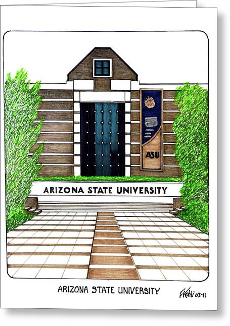 College Campus Drawings Greeting Cards - Arizona State West Campus Greeting Card by Frederic Kohli