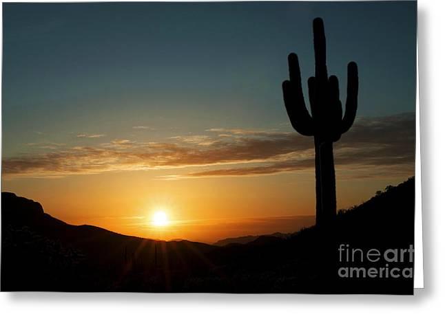 Travel Arizona Greeting Cards - Arizona Sunset Greeting Card by Bob Christopher