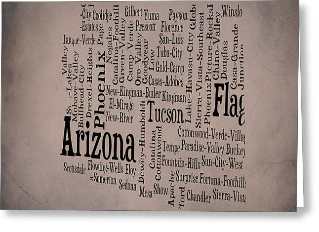 Arizona Typographic Map 1b Greeting Card by Brian Reaves